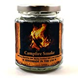 Campfire Smoke Wood Wick Candle, 8 oz Super Scented Natural Wax Candle, Burning Wood Fireplace Candle