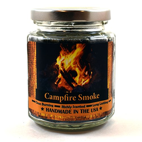 Fireplace Scented Candle (Campfire Smoke Wood Wick Candle, 8 oz Super Scented Natural Wax Candle, Burning Wood Fireplace Candle)
