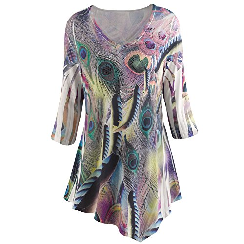 Women's Tunic Top - Playful Peacock In Soft Muted Tones - Purple - 3X