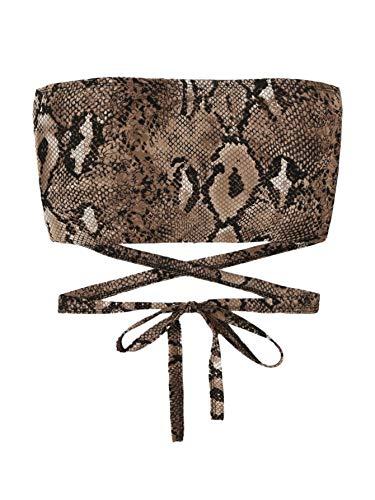 SweatyRocks Women's Tube Top Sexy Snake Strapless Bandeau Plaid Crop Top Snake M