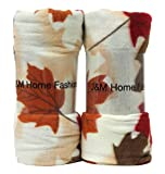 J & M Home Fashions Harvest Fall Leaves Fleece Throw (2 Pack), 50'' by 60''