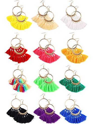 Trounistro 12 Pairs Tassel Hoop Earrings Fan Shape Drop Fish Hook Earring Dangle Ear Set for Women Girls Daily Wear Party Bohemia Dress Accessory (Color Style 1) ()