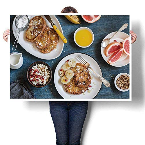 """SCOCICI1588 Wall Art Painting Colorful Breakfast Caramel French Toast with Banana Cottage Cheese Oils,24"""" W x 16"""" L Paintings Modern Home Decor Wall Art Painting (Frameless)"""