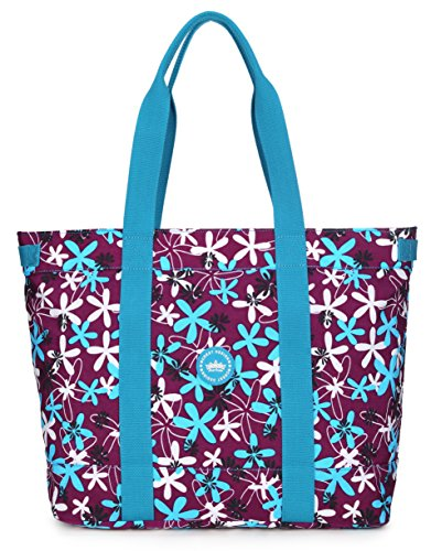 Crest Design Women handbag Tote Shoulder Bag for Laptops up to 17 inch (X-Large, Purple laurentia)