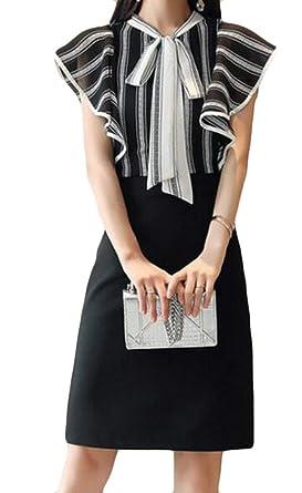 f7c7b3414dff SELX-Women Fashion Bow Tie Front Cap Sleeve Striped Spliced Pencil Midi  Dress Black US S: Amazon.co.uk: Clothing