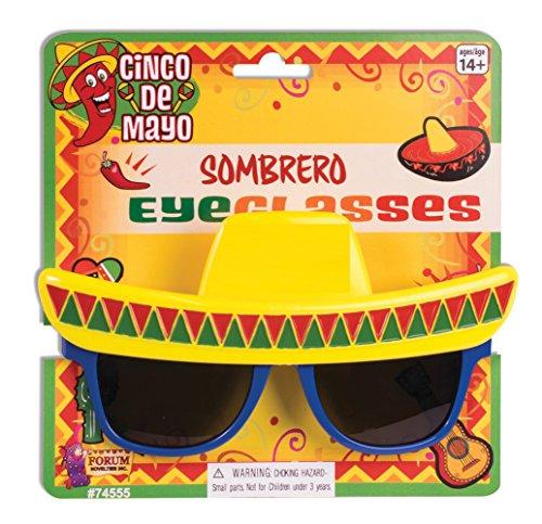 Sombrero Novelty Sunglasses - With Plastic Sunglasses Lines