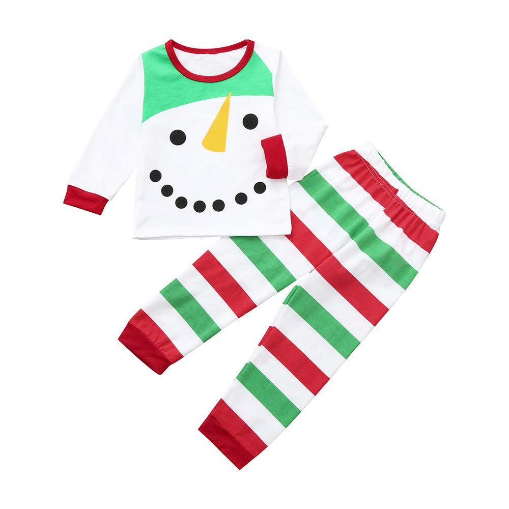 T-Shirt Kinder Jungen Mädchen Weihnachten langärmeligen Weihnachten Schneemann gestreiften T-Shirt Tops + Bedruckten Hosen Anzug Weihnachtsfeier Partei Modehemd Pyjama Strampler Base Suit