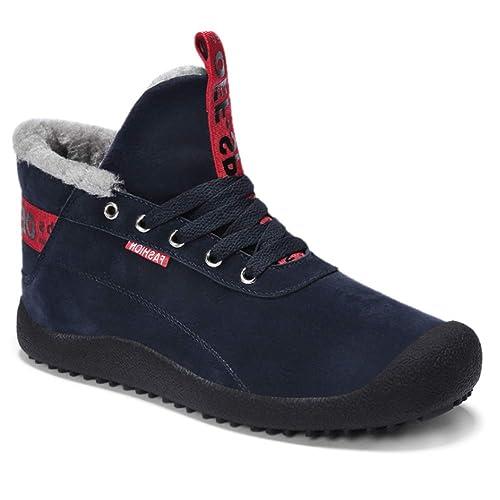 Huatime Zapatos Senderismo Trekking Botas de Nieve Hombre - Invierno Caliente Zapatillas Deportivas Botines Plana Casual Exterior Impermeables Anti ...