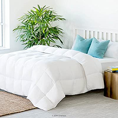 Linenspa All-Season White Down Alternative Quilted Comforter - Corner Duvet Tabs - Hypoallergenic - Plush Microfiber Fill - Machine Washable - Duvet Insert or Stand-Alone Comforter