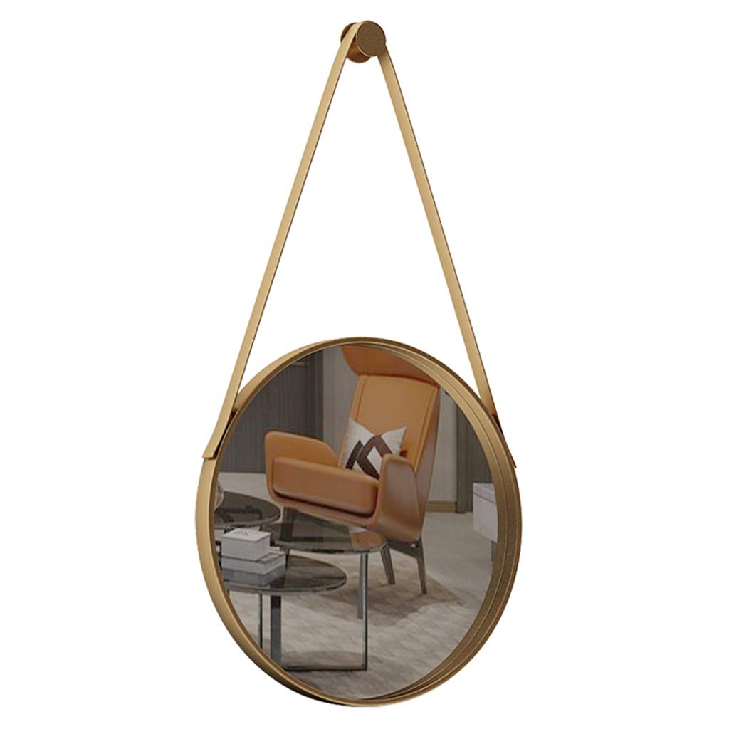 30cm Round Decorative Mirror with Hanging Strap, Wall Mount Modern Metal Framed Mirror,Creative Makeup Shaving Iron Mirrors for Bedroom, Bathroom & Living Room