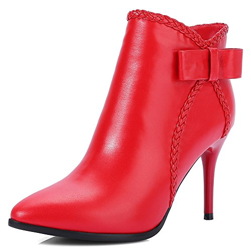Genuine Leather Women's Pointed Toe Stiletto Heel Handmade Fashion Ankle Booties with Bow
