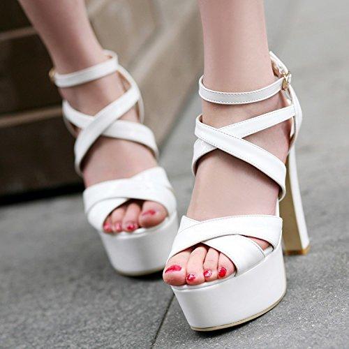 Xing Lin Sandalias De Mujer Gruesas Con Rosa Ranurados Para Sesiones Nocturnas Sandalias Ultra-Como El Calzado, 14Cm De Alta Noche Blanco Modelo Zapatos Zapatos White (Normal Edition)