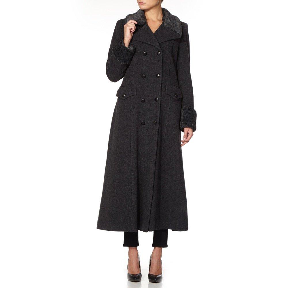 Grey Women`s Winter Wool Cashmere Military Coat Faux Fur Collar De La Creme