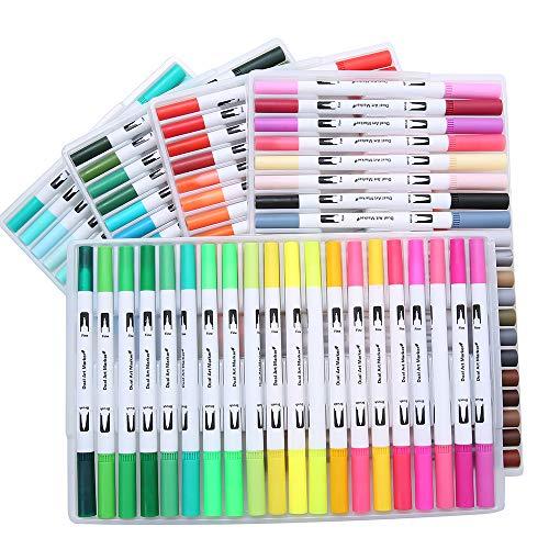 Enjoygojp 水性ペン 100色セット 水彩毛筆 水性 水彩筆 【細字と太字両用】 カラーペン 塗り絵 画筆 絵用 軟らかい フルカラー 文具 画材 手描き 収納ケース付き