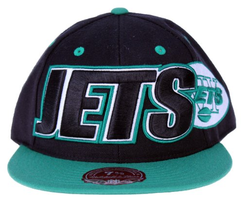 Mitchell & Ness NFL New York Jets Large Wordmark 2-Tone Fitted Hat, TT47, Black ()