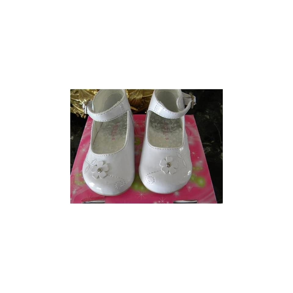 Infant & Toddler Baby Girl White Dress Leather Shoes Tuxedo Style . Weddings ,Christening Baptism #4802/size 5