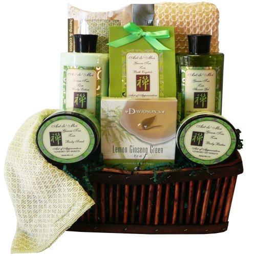 Green Tea Zen Calming Tea, Bath and Body Gift Basket Spa Set