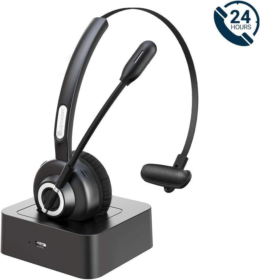 [Upgraded] Langsdom Bluetooth Headsets for Cell Phones, 24 Hrs Talk Time Wireless Headsets, CVC 8.0 Noise Cancelling On Ear Bluetooth Headphones with Microphone Charging Dock for PC iPhone Android