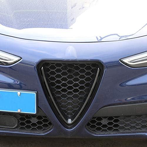 Nrpfell 2Pcs Carbon Fiber Style ABS Plastic Front Grill Decoration Frame Trim for Alfa Romeo Stelvio 2017 2018 Parts