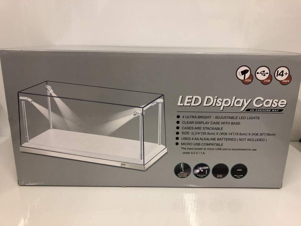 Vetrina acrilico con illuminazione a LED batterie incluse per il modellino di auto 1//43 1//64...