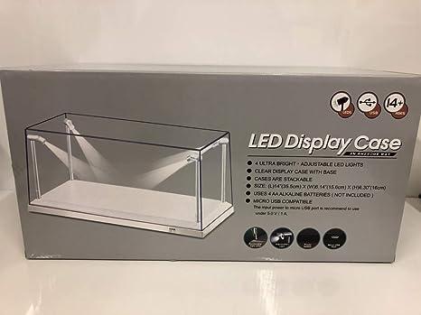 Klarsichtbox Vitrine mit LED-Beleuchtung für 1:18 Modellautos 4 LED-Lampen