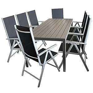 Elegante (9piezas). Asiento Muebles de Jardín (8x 7posiciones de respaldo alto con cordaje + polywood/Non Wood mesa de jardín 205x 90cm asiento Grupo Terraza Muebles Muebles de Jardín Terraza
