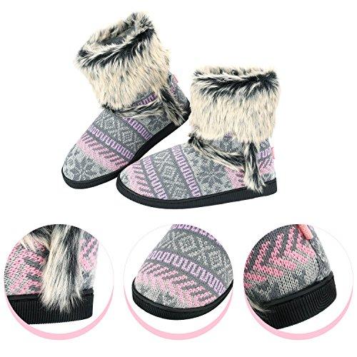 Sibba Tricot Chaussons Chaussons Mi-mollet Intérieur Maison Pantoufle Bottes Avec Pompons Pour Femmes Dames Filles Rose