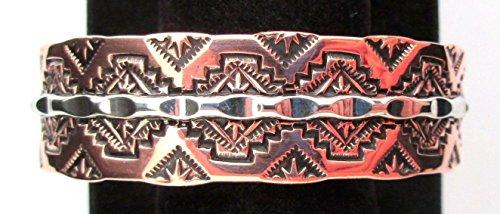 Navajo Copper Bracelet/Cuff Silver Stamped Designs Signed Silver Cuff Bracelet Signed