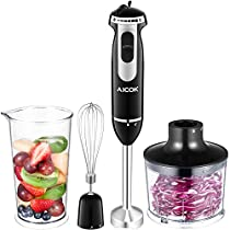 Aicok Hand Blender and Food Processor Immersion Blender Set with Whisk Food Chopper Measuring Cup for Baby Food, Soup, Vegetable