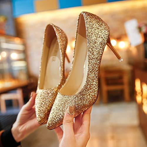 9Cm Lustrini Scarpe Eleganti Matrimonio da donna Scarpe Scarpe Damigelle Banchetto Tacco Scarpe Annuale Matrimonio Affilato Golden Alto HBDLH Col XFq4Bwn