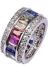 Weina Morganite Topaz Garnet Amethyst Ruby Aquamarine 925 Sterling Silver Ring Comes With Free Gift Box