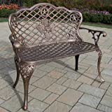 Oakland Living Texas Cast Aluminum Rose Loveseat, Antique Bronze