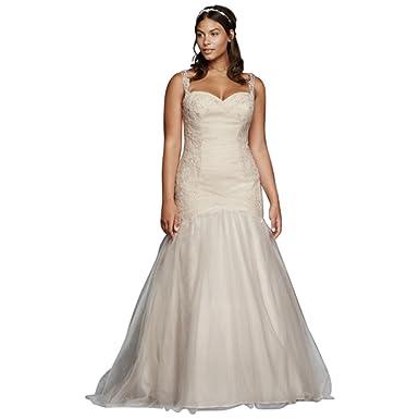 ad40efbbfa5 David s Bridal Sample  As-is Plus Size Tulle Trumpet Wedding Dress Style  AI13030026 -