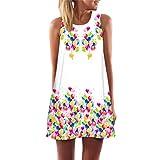 Bringbring Women Summer Sleeveless 3D Print Boho Tank Mini Dress