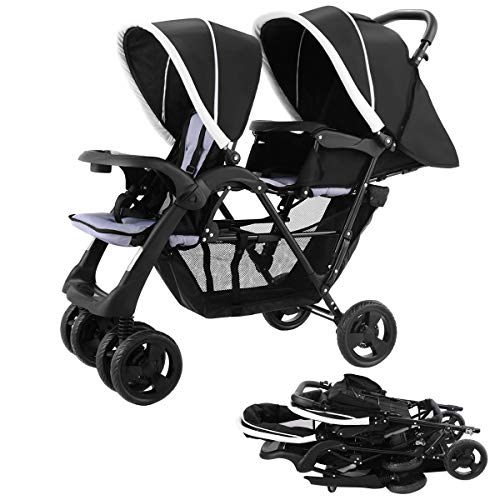 (Costzon Foldable Double Stroller Baby Infant Pushchair Travel Jogger w/Storage Basket)