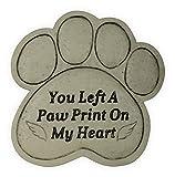 Angelstar Pet Memorial Garden Stone-You Left a Paw Print on My Heart, Light Brown