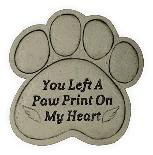 AngelStar Pet Memorial Garden Stone - You Left A Paw Print On My Heart, Light Brown