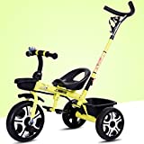 Children's Bicycle, Tricycle, 1-6 Years Old, Baby Stroller, With Hand Push Rod ( Color : Yellow )