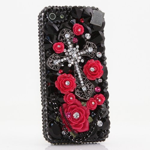 Case, iPhone 6 PLUS Case - LUXADDICTION [Premium Quality] 3D Handmade Crystallized Bling Case Swarovski Crystals Diamond Sparkle Black Cross with Red Roses Chain Cover (Swarovski Crystal Cross Cell Phone)