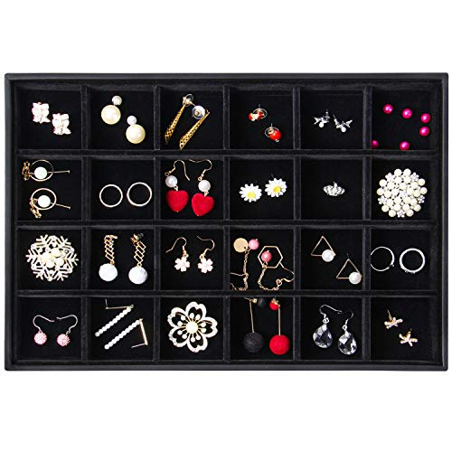 Valdler Velvet Stackable 24 Grid Jewelry Tray Showcase Display Organizer ()