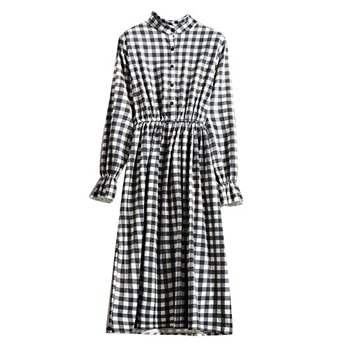 amp;white 6 Long Sleeve Elastic Button Waist Women's Black Floral Down Midi Cutecc Vintage Dress Print AFw46qZO