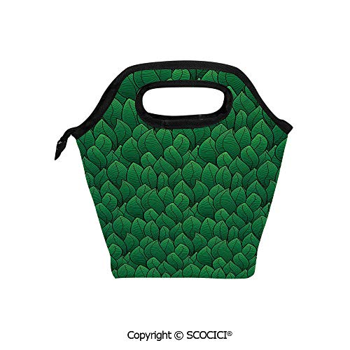 Picnic Food Insulated Cooler Tote Lunch Bag Cartoon Style Leafage Pattern Fresh Foliage Plant Spring Nature Ecology Theme Organizer Lunchbox for Women Men Kids. ()