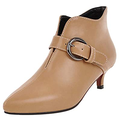 MisaKinsa Mujer Clásico Mini Tacón Botas Cortas Cremallera Puntiagudo Botines de Tobillo Vestido Zapatos Oficina Apricot Tamaño 48 Asian: Amazon.es: Zapatos ...