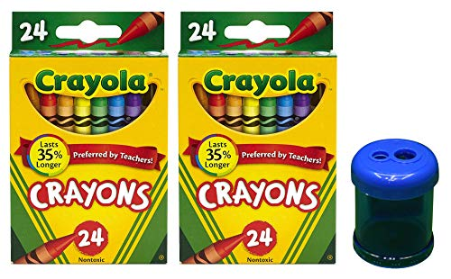 Crayola Crayons, 24 Count, 2 Pack and Crayon and Pencil Sharpener ()
