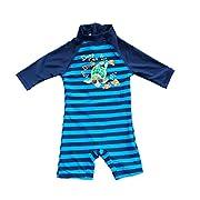 Bonverano(TM Kids UPF 50+ Sun Protection S/S One Piece Zip Sun Suit (3-6 Months, Navy)