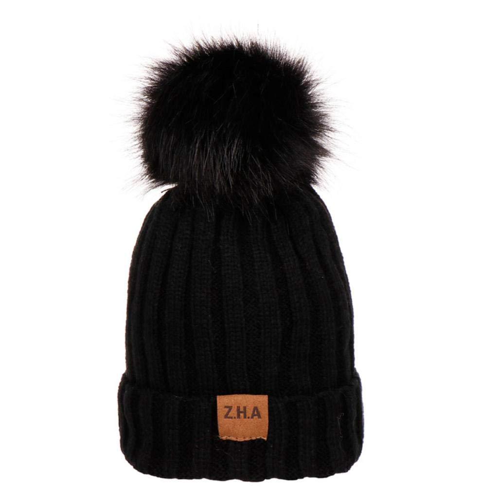 Boys Girls Winter Solid Color Knit Hat Beanie Hairball Warm Cap Ski Ball Cap