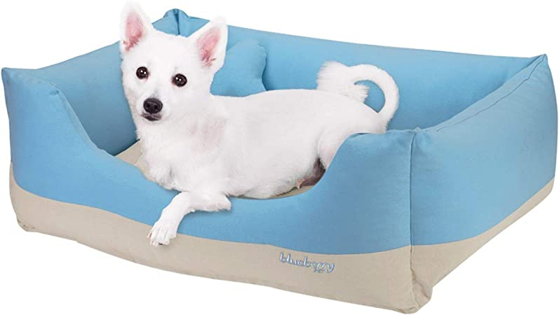 Amazon Com Blueberry Pet Heavy Duty Cotton Linen Blended Canvas Overstuffed Cuddler Bolster Lounge Dog Bed Removable Washable Cover W Ykk Zippers 34 X 24 X 12 11 Lbs Baby Blue