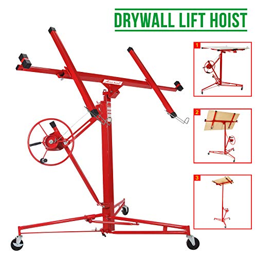 Jack Lifter Jack Rolling Construction Caster Wheels Lockable Tool Red 11 ft Drywall Rolling Lift Panel Hoist
