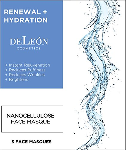 Instant Soothing Moisture Mask (Hydrating Facial Mask | DeLeon Cosmetics | Plant-based technology reduces puffiness, wrinkles, and provides instant rejuvenation for anti-aging. Sheet Masks made in USA. Face Sheet Mask Set of 3.)