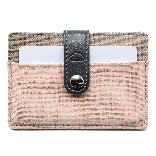 (Fashion Series - Card Holder, 2 Pockets for 6-12 Cards, Secure with PU Leather Strap, Slim Fabric Design (Pink Gray) )